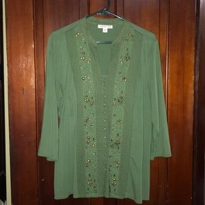 Green hand beaded blouse